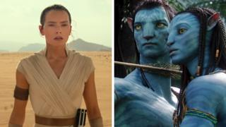 Daisy Ridley in Star Wars: The Rise of Skywalker (left) and Sam Worthington and Zoe Saldana in Avatar
