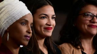 Faces of Rep Ilhan Omar, Democrat of Minnesota, left, shown with Alexandria Ocasio-Cortez of Queens, New York, and Rashida Tlaib of Michigan, spoke out against the president