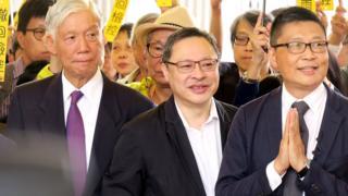 (左至右)朱耀明、戴耀廷、陳健民(19/11/2018)