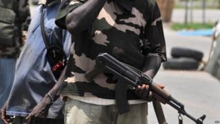 Militiamen backing internationally Alassane Ouattara - March 2011