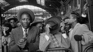 West Indian immigrants arrive at Victoria Station from Southampton Docks, 1956