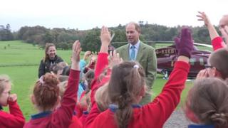 Prince Edward meeting primary schoolchildren from County Cavan.