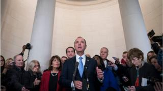 hollywood Adam Schiff, a Democrat from California and chairman of the House Intelligence Committee, answers questions from members of the media after a House Intelligence Committee