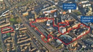 An aerial view of the outline of the city centre site which was earmarked for development