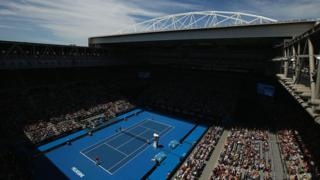 A general view of a match at the first day of the 2016 Australian Open