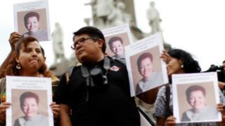 Protesta tras la muerte de la periodista mexicana Miroslava Breach en el estado de Chihuahua.