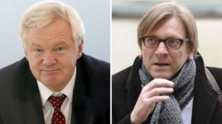 UK's David Davis (left) and European Parliament's Guy Verhofstadt - 22 Nov 16 file pic