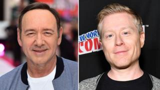 A composite showing US actors Kevin Spacey and Anthony Rapp