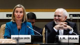Federica Mogherini iyo Mohammad Javad Zarif