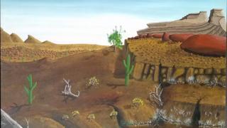 Desert landscape at the centre of the Peter Doig court case