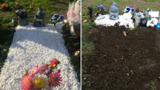 Grave before and after