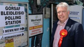 Carwyn Jones made his vote at Westward Community Centre in Bridgend
