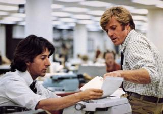 Robert Redford and Dustin Hoffman in All The President's Men, 1976