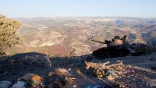 Burned-out Syrian army tank in the Jabal al-Akrad region of Latakia province, Syria (14 September 2012)