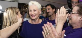 Independent candidate Dr Kerryn Phelps pictured after her poll victory in Sydney, Australia