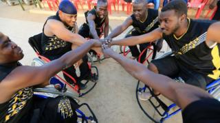 he Tibiya team warms up as they attend the first wheelchair basketball tournament in Sudan, to mark the International Day of Persons with Disabilities at the Omdurman Youth Centre, Sudan December 4, 2016.