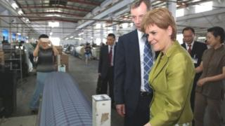 Ms Sturgeon visited the new factory being built by textile firm J&D Wilkie in China