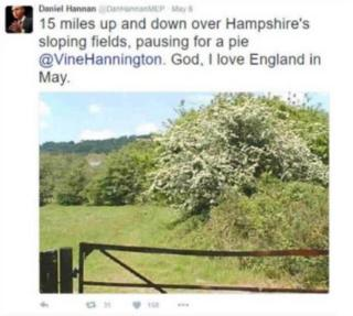 "Screengrab of Tweet: @DanHannanMEP: ""15 miles up and down over Hampshire's sloping fields, pausing for a pie @vinehannington. God, I love England in May."""