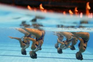 Team Egypt competes at the World Swimming Championships in Gwangju, South Korea, on 17 July 2019.