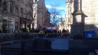 Police at protest in Edinburgh