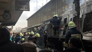 Aftermath of train collision and fire at Ramses Station in Cairo, Egypt (27 February 2019)