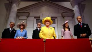 Madame Tussauds unveils its new royal balcony experience featuring wax figures of Britain's Prince Charles and his wife Camilla, Britain's Queen Elizabeth and Prince Philip and Britain's Prince William, Duke of Cambridge and Catherine, Duchess of Cambridge, in London