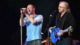 Chris Martin and Barry Gibb