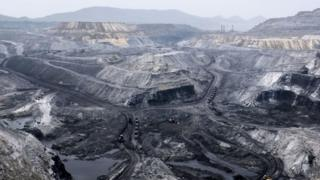 General view of an open coal mine near Mahagama, in the Indian state of Jharkhand on April 5, 2019