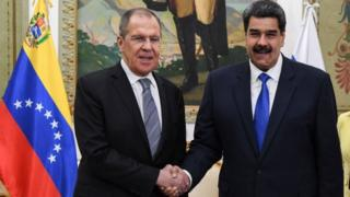 Donald Trump Russian Foreign Minister Sergei Lavrov (left) and Venezuelan President Nicolás Maduro in Caracas. Photo: 7 February 2020