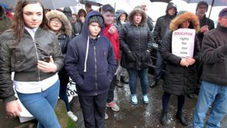 Demands were made at the rally for an independent investigation into recent problems at the school