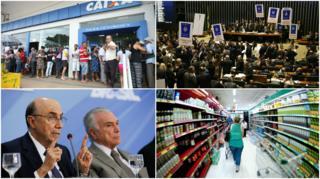 Caixa Econômica, plenário da Câmara, Meirelles e Temer e supermercado