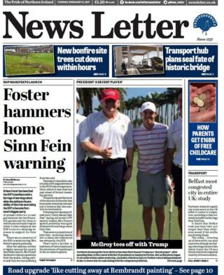 News Letter front page Tuesday 21 February