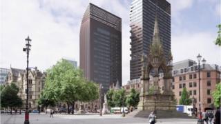 Albert Meydanı'ndan bakıldığında kuleler böyle gözükecek