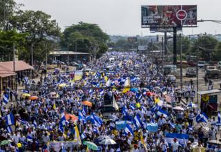 Thousands of Nicaraguans have marched in protest at the deaths of students during police crackdowns. This march took place in Managua in April 2018