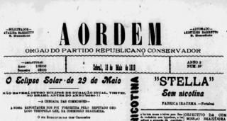 Capa do jornal A Ordem, de Sobral