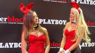 in_pictures Two women in Playboy bunny outfits