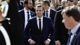 Emmanuel Macron after his inauguration as president on 14 May