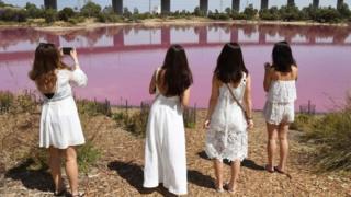 Beberapa wisatawan bahkan datang dengan mengenakan pakaian berwarna senada satu sama lain untuk berfoto dengan latar belakang danau tersebut