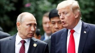 Raisi wa Urusi Vladimir Putin na Donald Trump, mwaka 2017