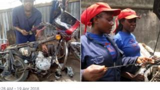 Young girls wey dey do mechanic work