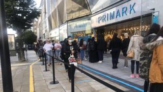 Queues outside Birmingham Primark
