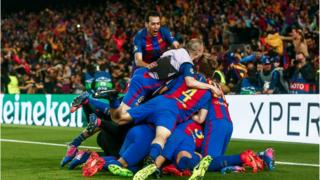 Barcelona celebrate their winner
