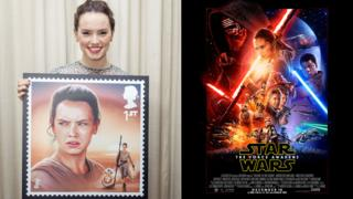 Daisy Ridley with her stamp and how she appears on the Star Wars: The Force Awakens poster