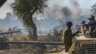 Nigerian Army attacking insurgents' camp in Borno state