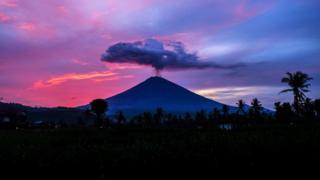Mount Agung spews volcanic ash near Amed village, Karangasem district, Bali on 30 November 2017.