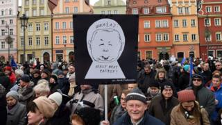 Supporters of the Committee for the Defense of Democracy protested in Wroclaw on 23 January 2016.