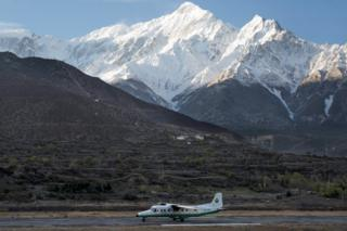 Archive picture of a Tara Airlines small plane landing at Jomsom airport