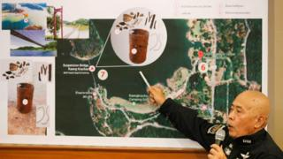 พ.ต.ท. กรวัชร์ รองอธิบดีดีเอสไออธิบายแผนผังจำลองวัตถุพยานคาดว่าเป็นชิ้นส่วนกระดูกมนุษย์ บริเวณสะพานแขวนแก่งกระจาน
