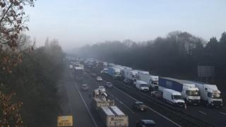 A view of the M6 from a bridge on Thursday morning