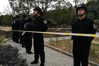 Picture of guards posted at the Youngor zoo in Ningbo on Sunday 29 January 2017